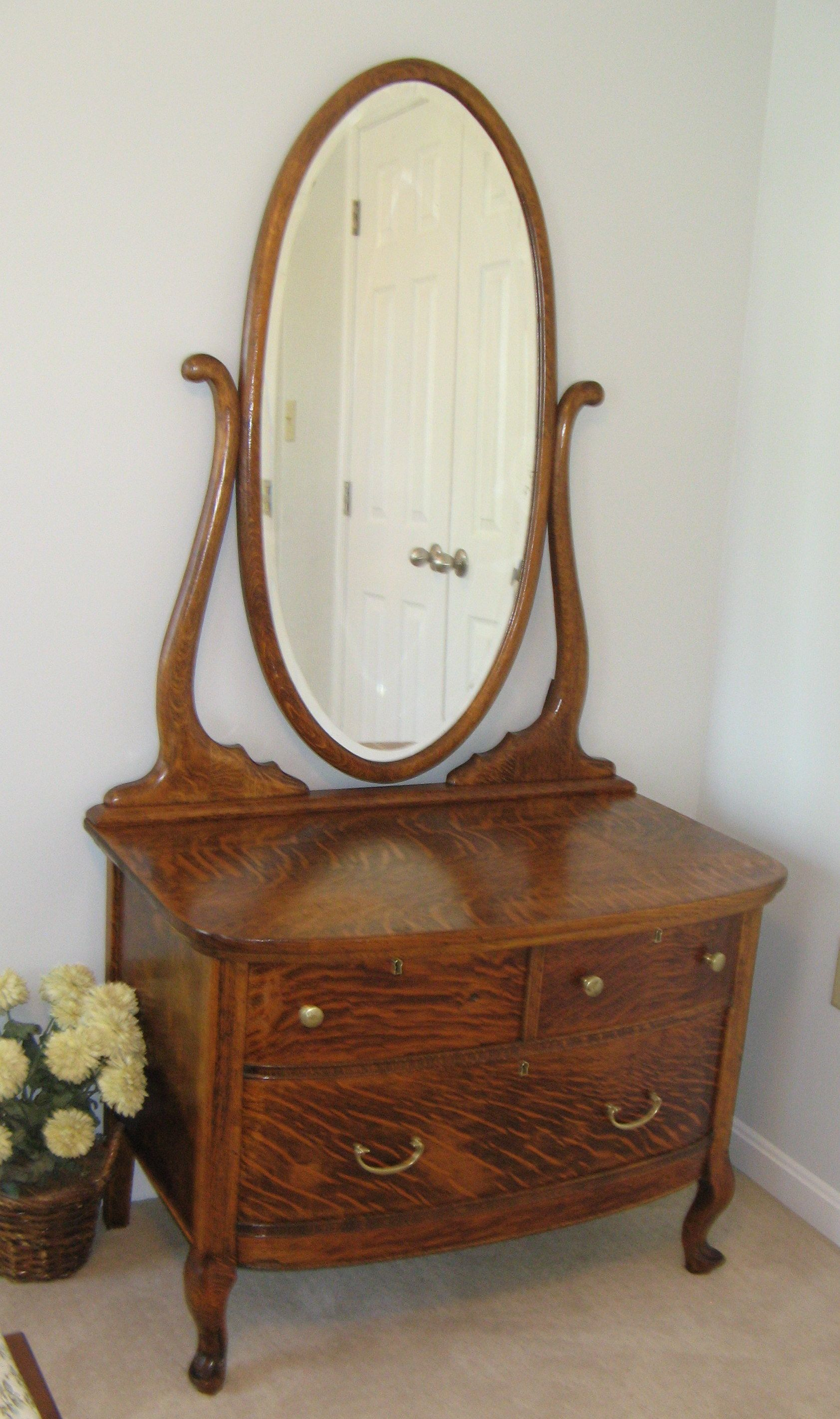 Early 1900s 3 Drawer Oak Dresser With Original Glass Mirror
