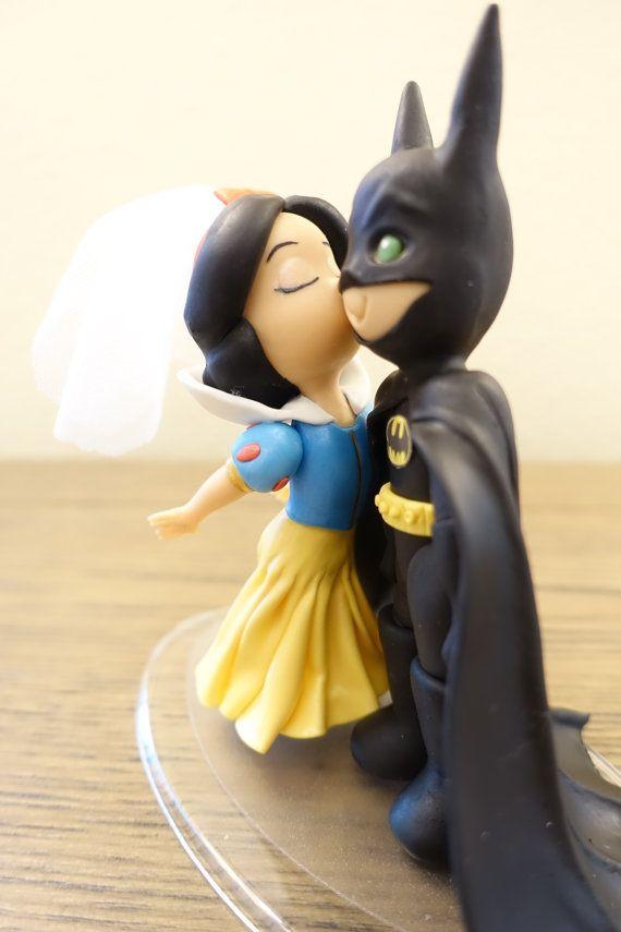 Snow White and Batman Cake Topper. Wedding Cake Topper. Snow White ...