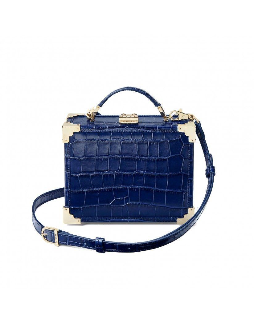 3e1a5ed00806 Aspinal of London Women s Mini Trunk Clutch Bag - Deep Shine Navy ...
