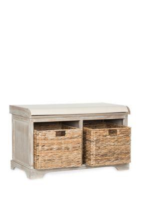 Freddy Wicker Storage Bench Wood Storage Bench Bench With