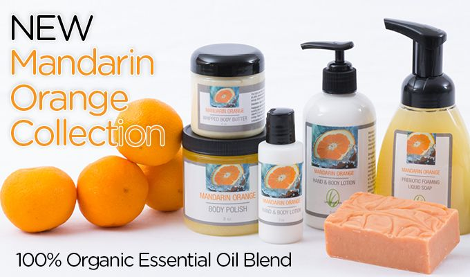 New Mandarin Orange! This collection is handcrafted with 100% organic essential oils and features a zesty citrus collage of mandarin orange, blood orange and lime topped off with creamy vanilla.