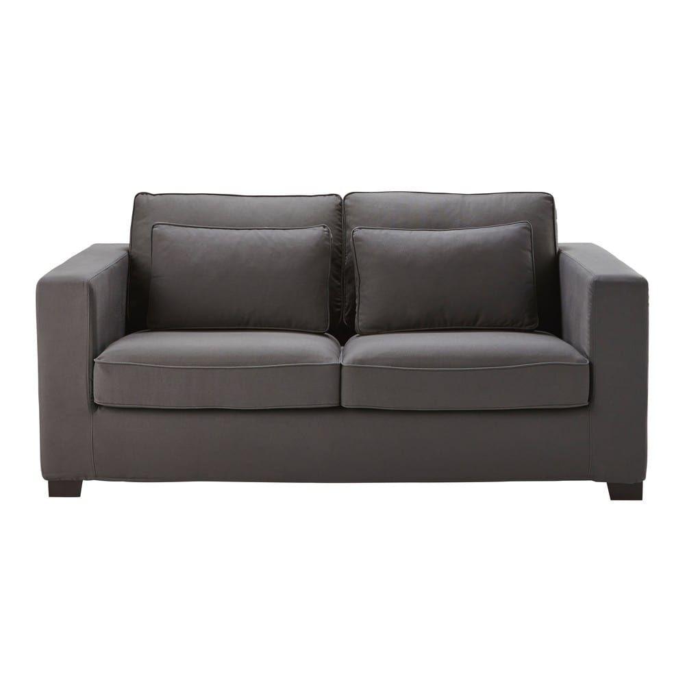 3 Seater Cotton Sofa Bed In Slate Grey Mattress 6 Cm Maisons Du Monde Sofa Cotton Sofa Sofa Bed