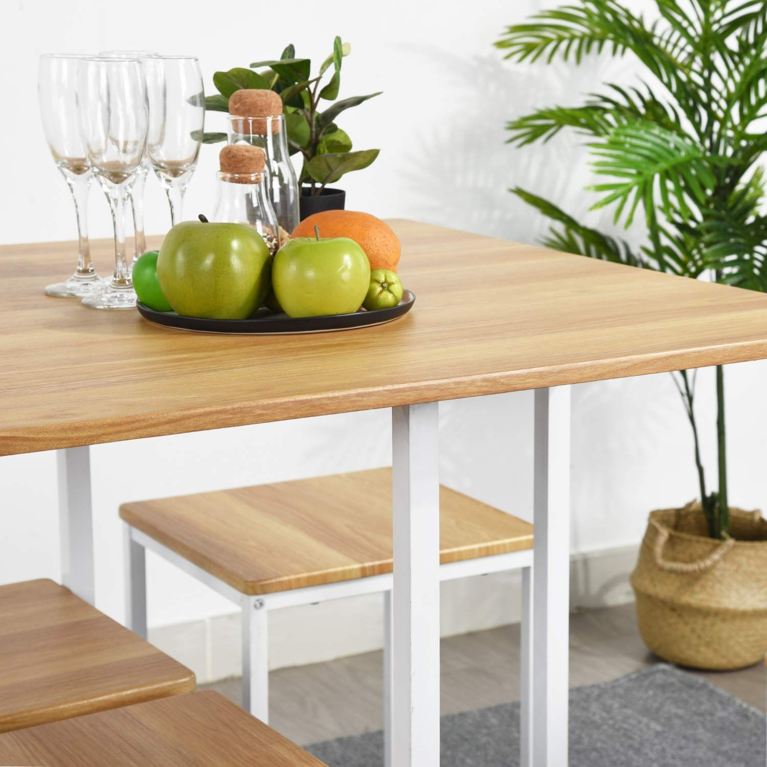 Furniturer 5 Piece Wooden Metal Dining Table Sets Square Dining Table With 4 Dining Chairs For Home Kitchen M Metal Dining Table Dining Table Setting Furniture