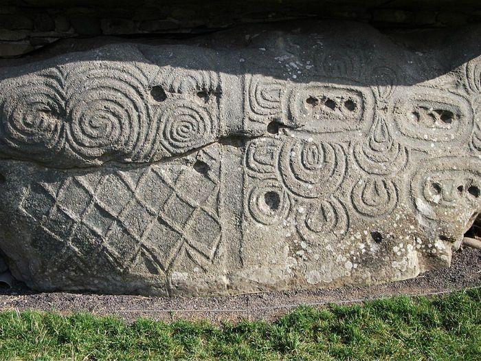 Carved neolithic stones entrance stone newgrange