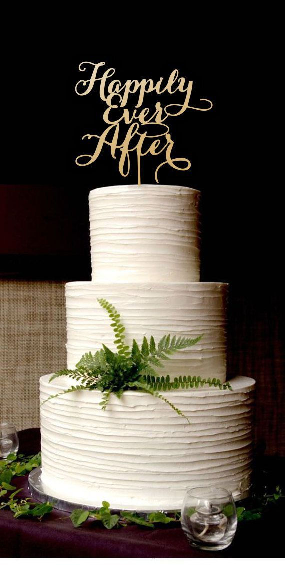 Wedding Cake Topper Happily Ever After Gold Cake Topper Please
