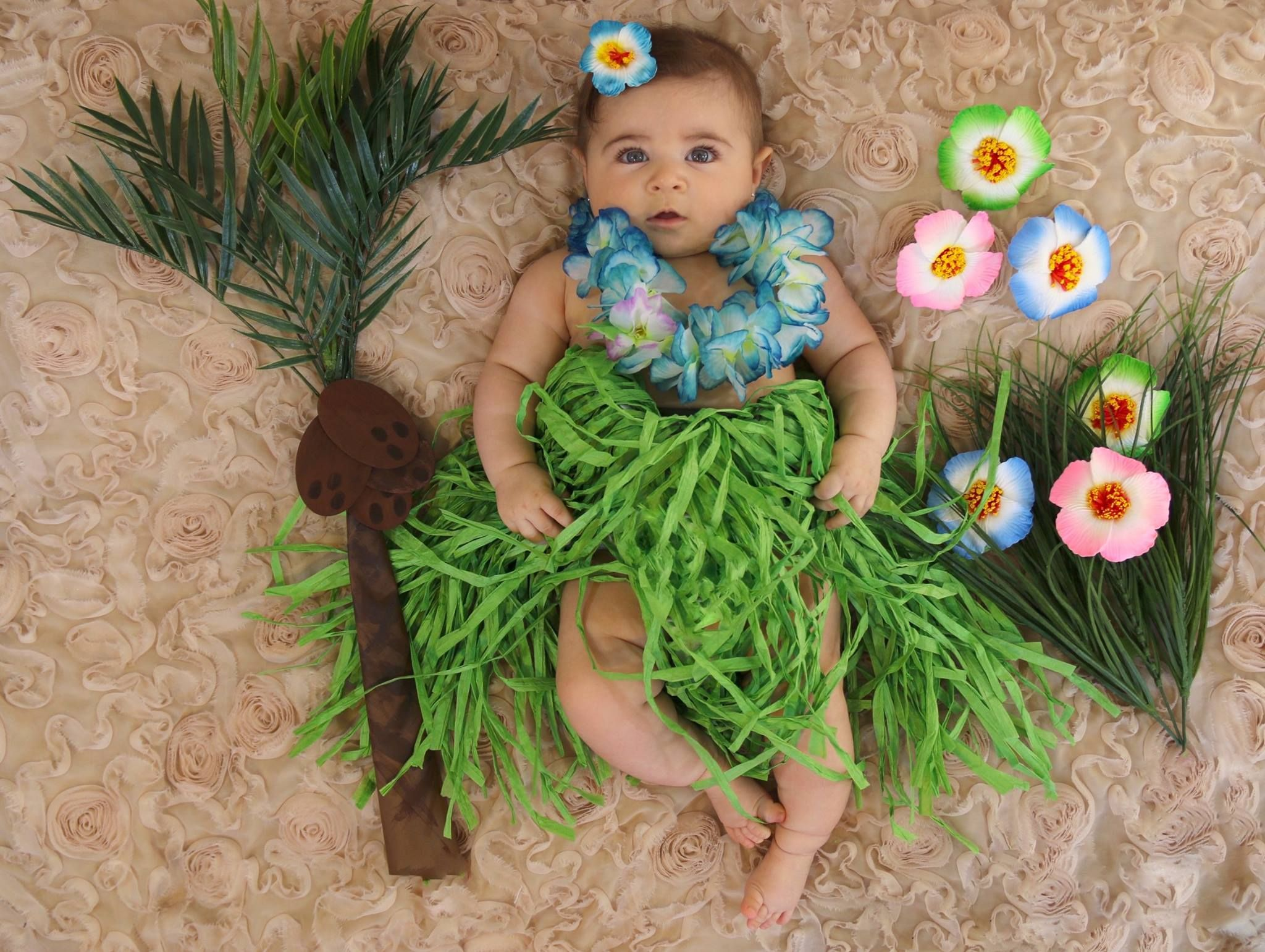 5th Photoshoot Baby Girl Pictures Summer Theme Hawaii Hula