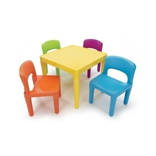 Kids Coloring Table Chair Set Plastic Bright Fun Child Dining Art Project