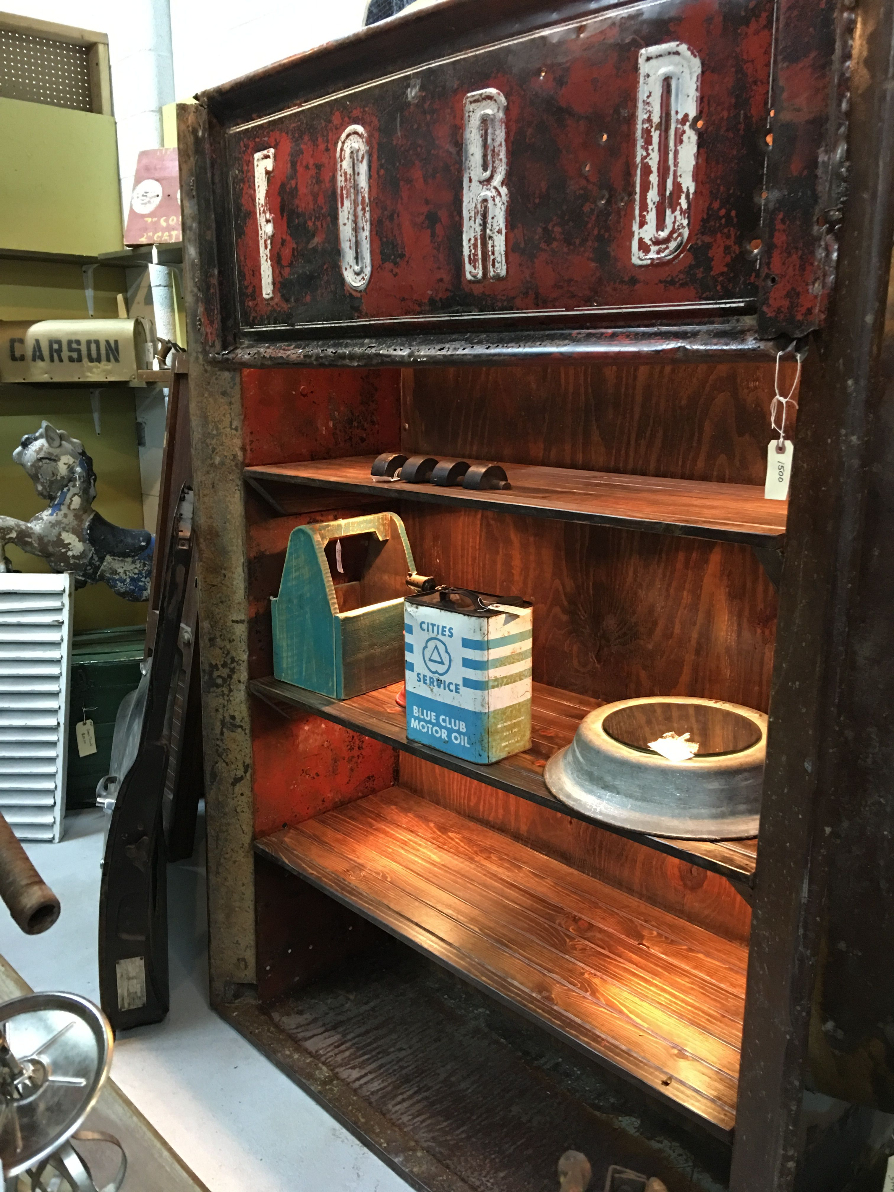 Ford truck bed repurposed into shelve by Southern Boy Primitives