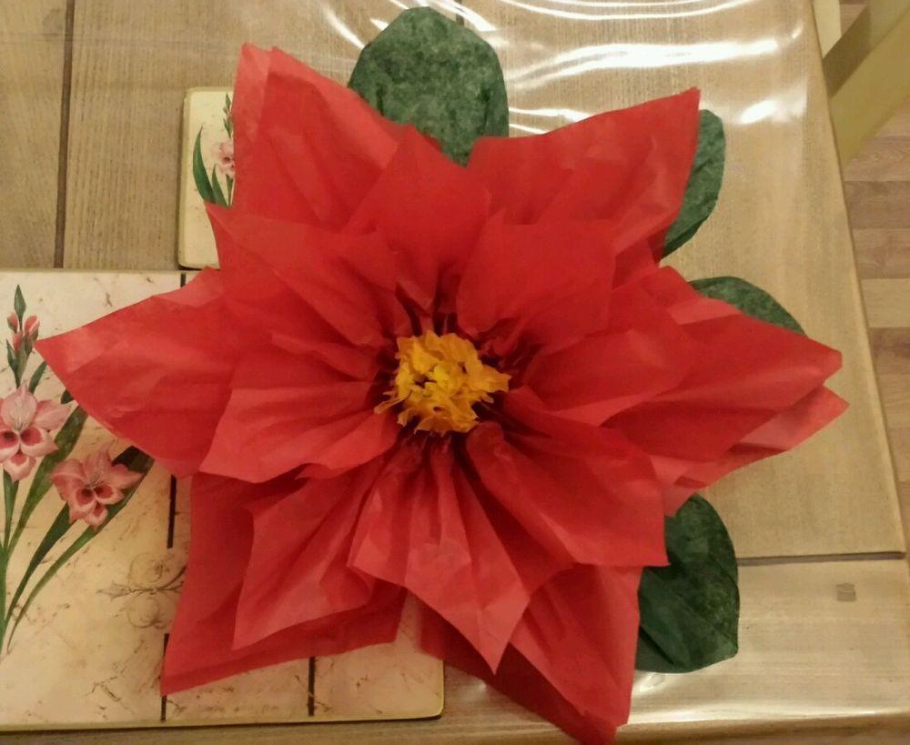 1x Large 43cm Poinsettia Red Tissue Paper Flowerpom Pomwedding