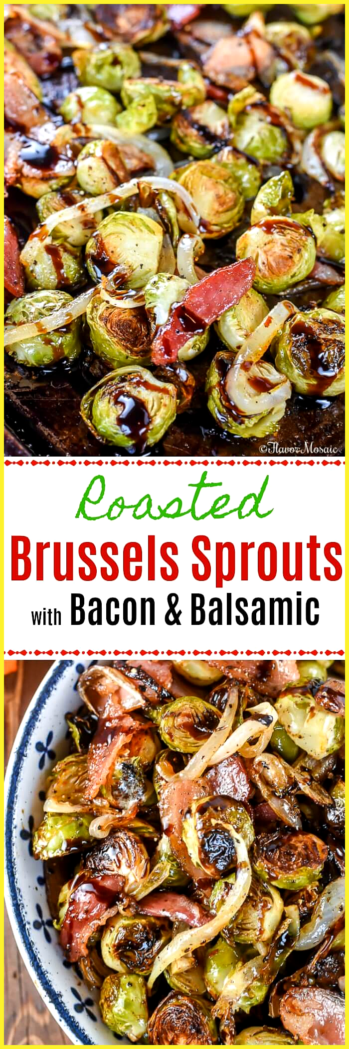 Fried Brussels sprouts with bacon and balsamic mosaic #buffalobrusselsprouts