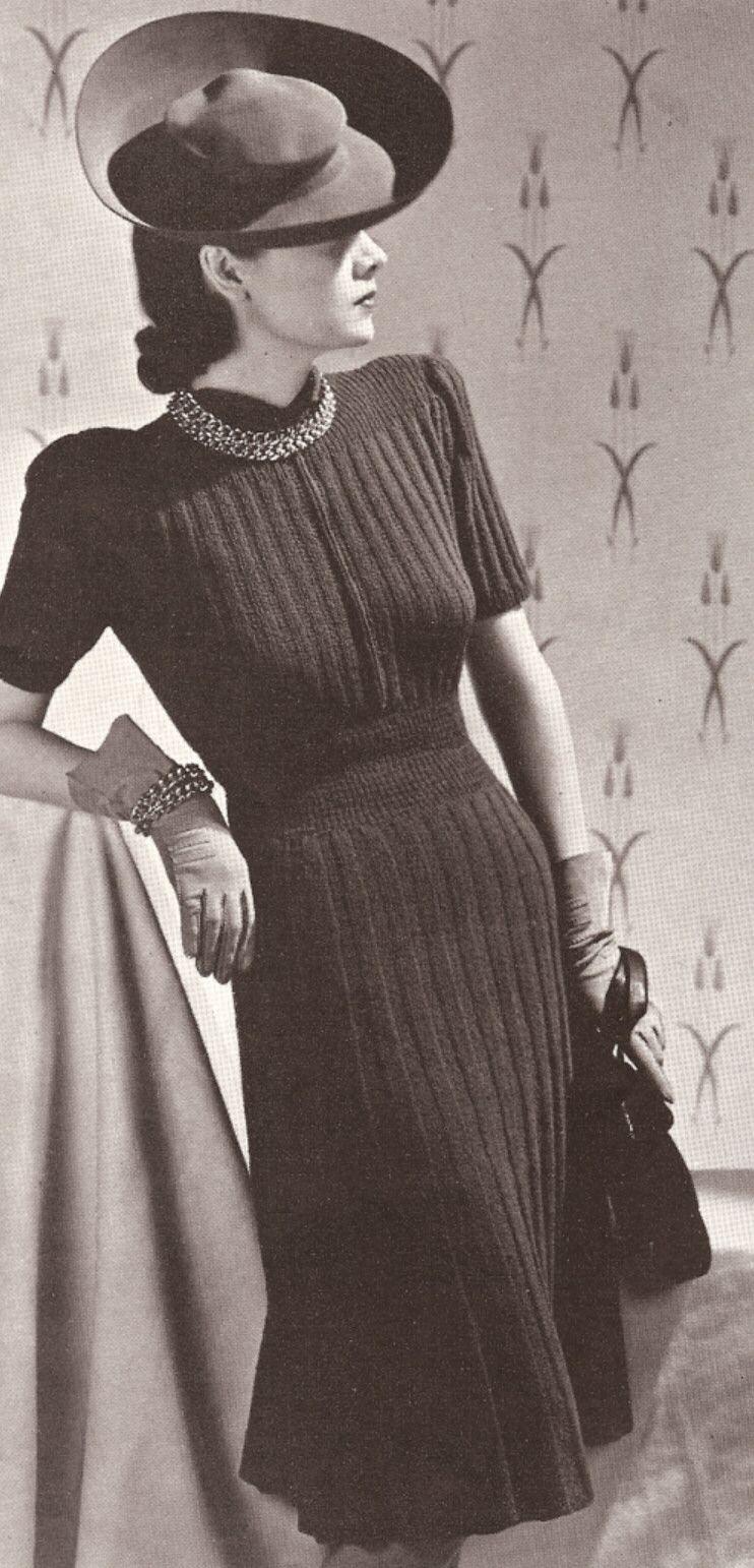 Vintage knitting pattern to make vogue designer dress rib knit vintage knitting pattern to make vogue designer dress rib knit 1930s vogueribbed bankloansurffo Choice Image