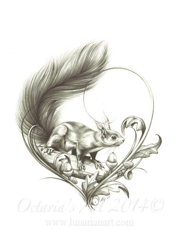Squirrel Temporary Tattoo Curious By OctaviaTattoo