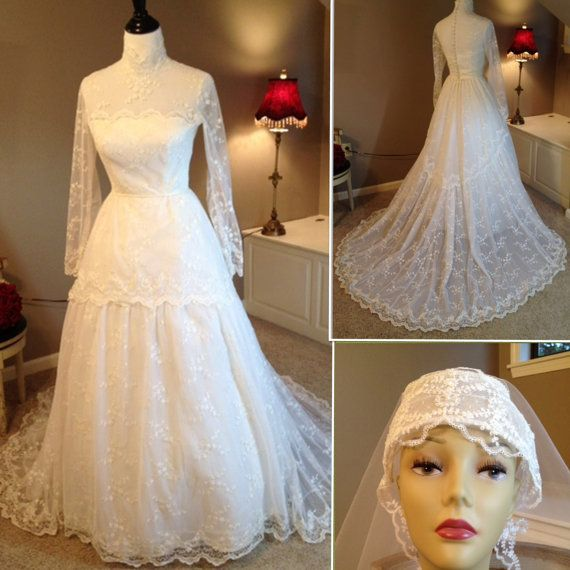 Reserved for Rebecca...Vintage Bianchi Lace Wedding Dress with Veil ...