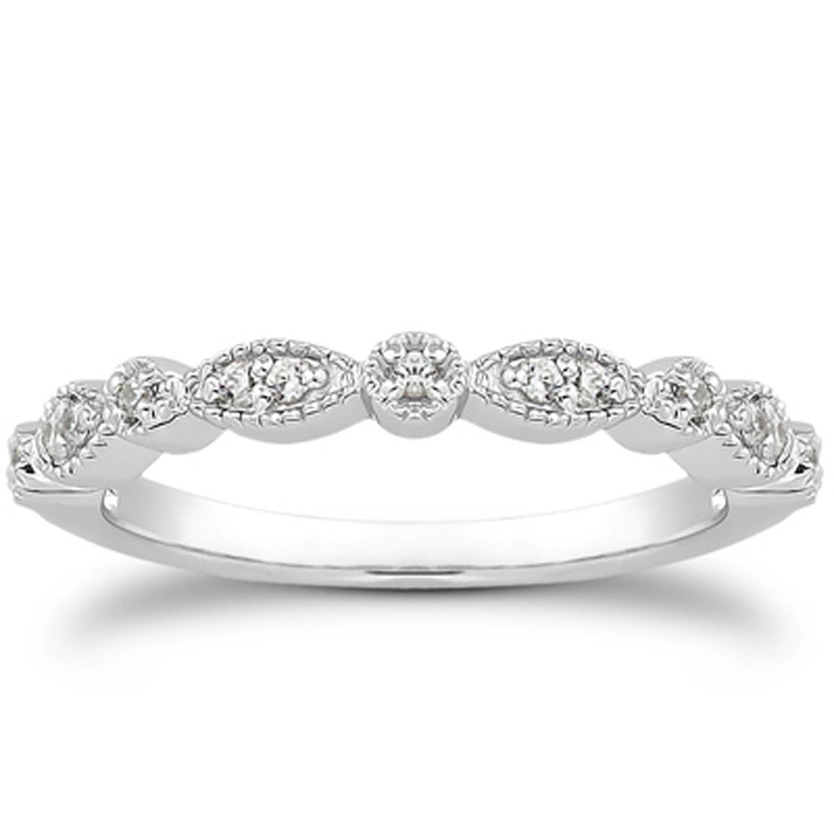 14k white gold vintage look fancy pave diamond milgrain wedding