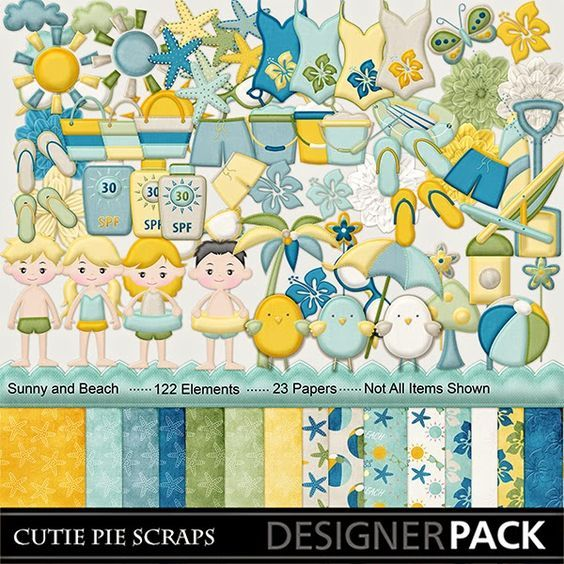 Free Digital Scrapbook Kits Sunny And Beach Stacked Paper Art