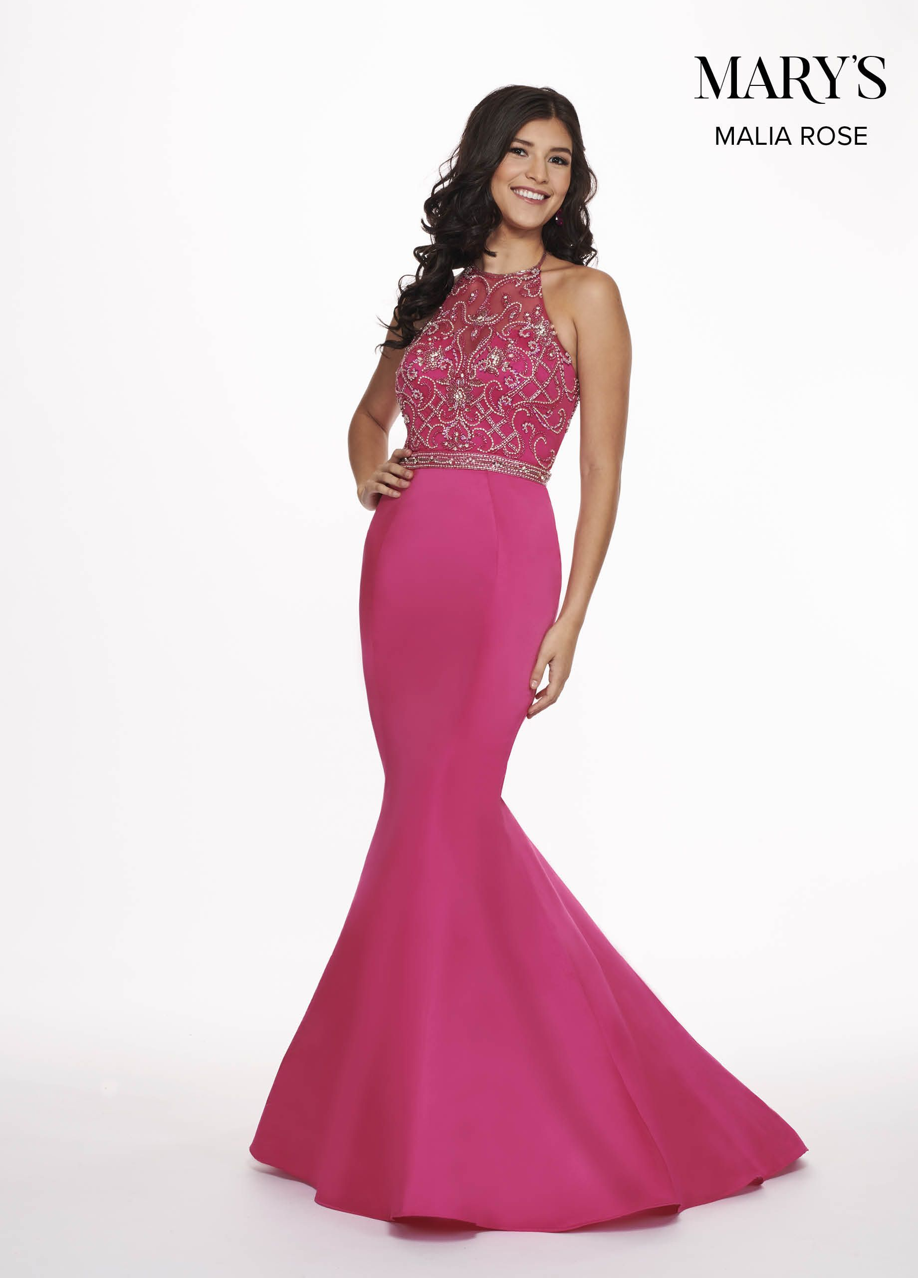 b0649b1edeaf1 Satin mermaid prom dress with beaded halter top, beaded natural waistline,  open back, and sweep train.