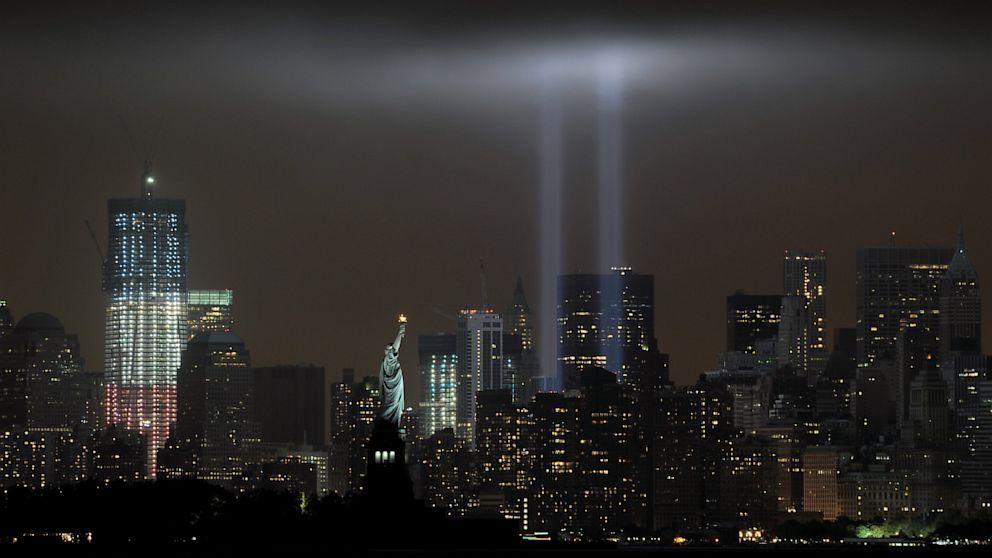 Image result for world trade center memorial at night