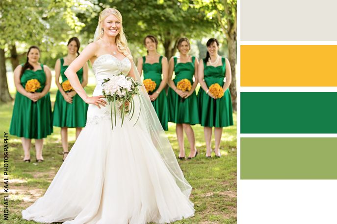 What A Simple Yet Elegant Wedding Color Palette Green And Yellow With Image By Michael Kaal Photography The Pink Bride Thepinkbride