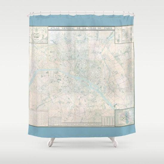 Paris Map Shower Curtain Atlas De France By Mapology