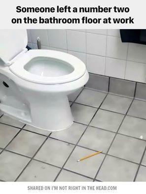Someone left a number two on the bathroom floor 9 to 5 for Adjustment bureau bathroom scene