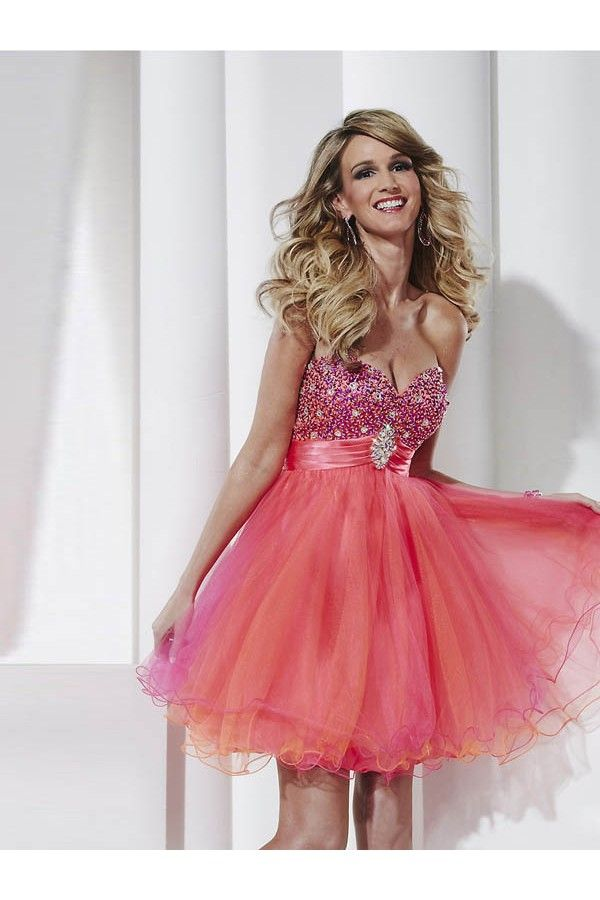 Sweetheart A-line Tulle Watermelon Cocktail Dresses/Short Prom Dress ...
