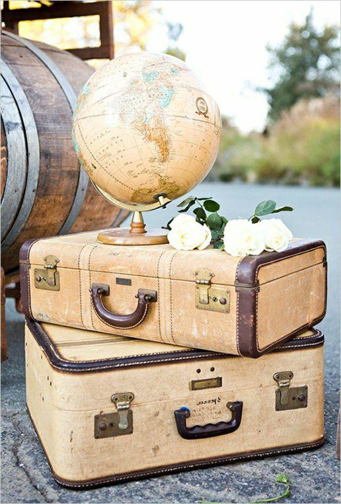 cute decoration with vintage suitcase
