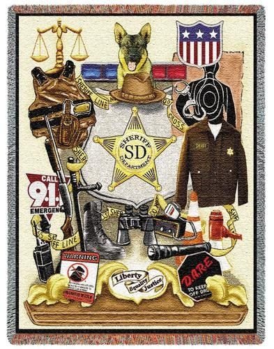 Personalized Sheriff Profession Tapestry Throw