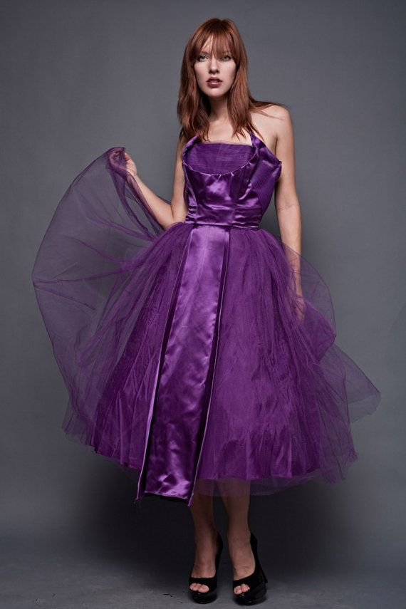 vintage 50s 1950s party dress strapless purple new look satin tulle ...