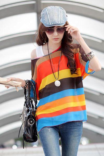 Short Sleeve Striped Blouse Formas De Vestir 888c73a146e