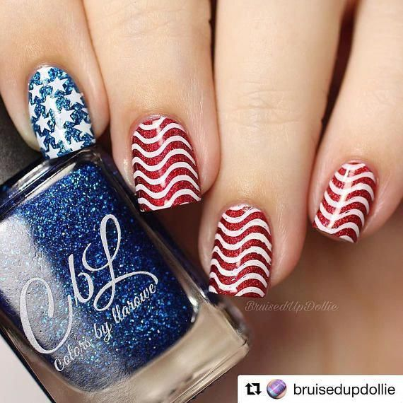 IG120 Nail Art Stamping Plate - stars, stripes, 4th of July, Independence Day, USA, America, flag