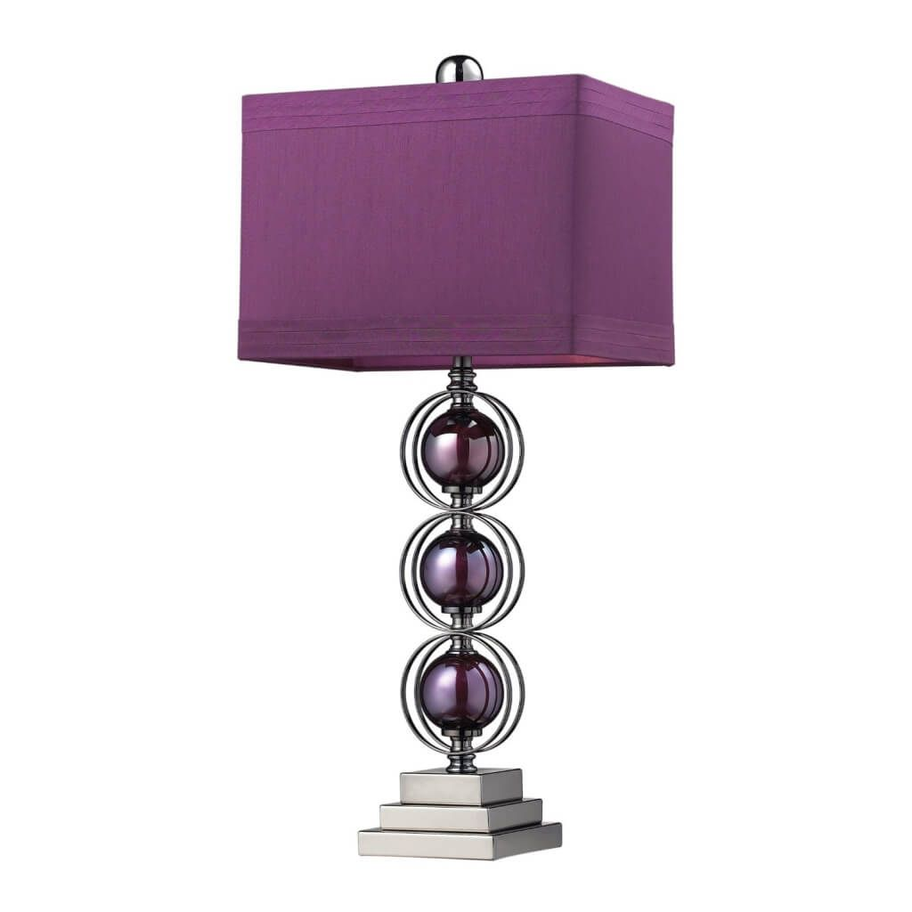 Fabulous rectangle purple lamp shade uk unique purple glass lamp dimond lighting alva contemporary table lamp in a black nickel finish with triple purple sphere design the shade is purple faux silk with a purple liner geotapseo Image collections