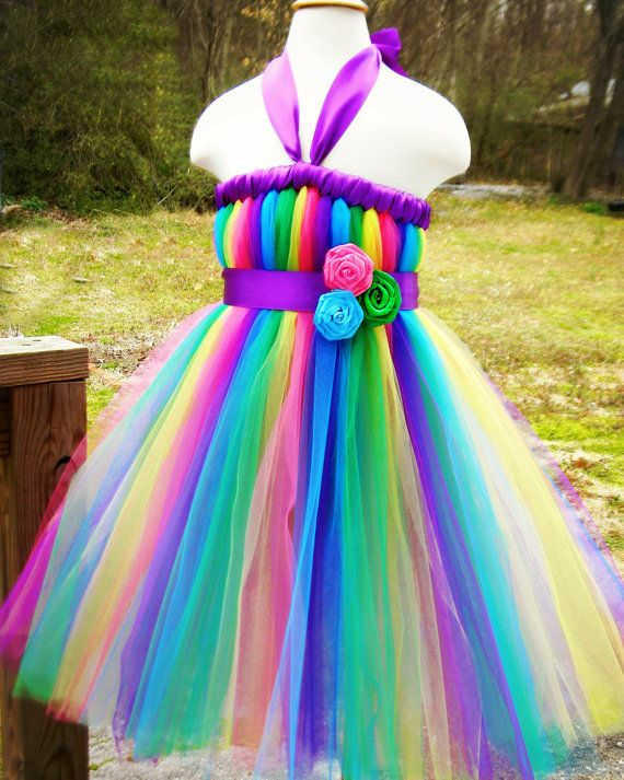 Tutu Dress Green, Pink, Blue, Yellow, and Purple | Flower, Blue ...