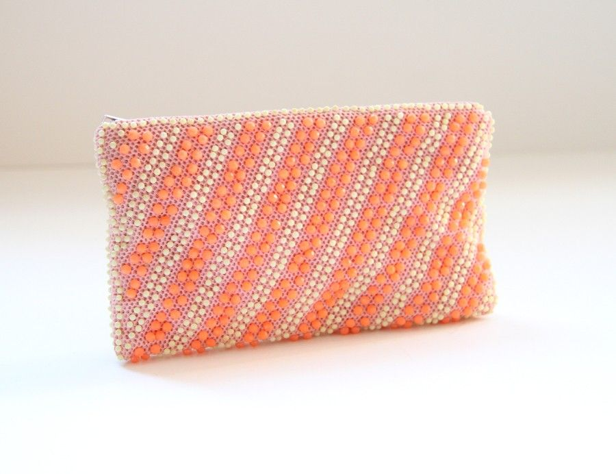 Sorbet Bead Pouch - Neon Watermelon ~ north brooklyn dry goods / Etsy