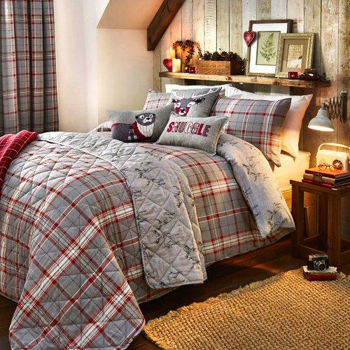 Brushed Cotton Tartan Check Face And Stag Duvet Cover Set Wayfair Basics Size Single Colour Sil Duvet Cover Sets Traditional Bedding Sets Quilt Sets Bedding