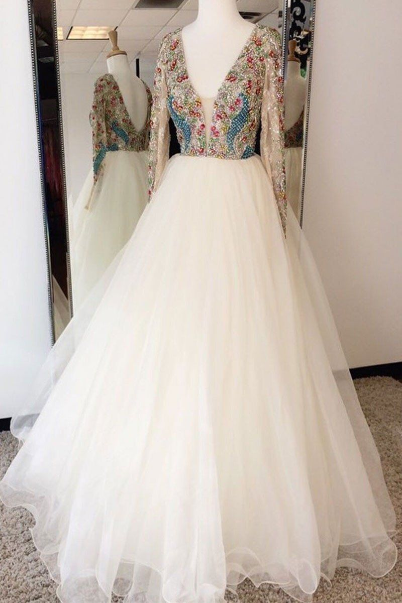 Beading long sleeve prom dresslong prom dressesprom dresses