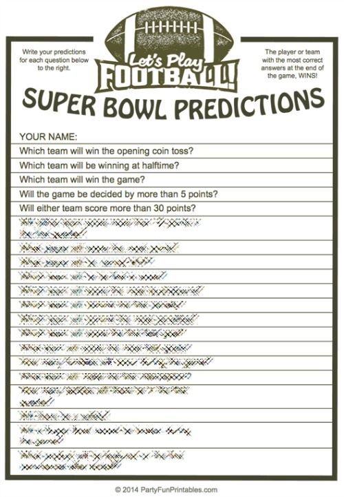 image about Printable Super Bowl Prop Bets named Video game Predictions