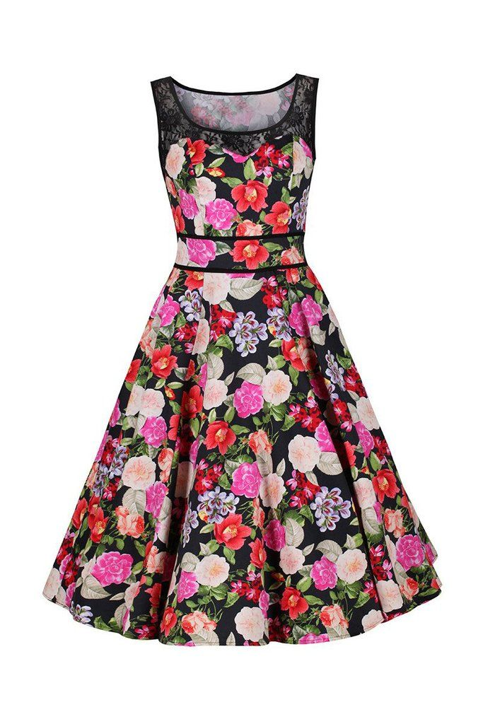 aa2bfde5f4757 Black and Multi Colour Floral Print 50s Vintage Swing Audrey Dress ...