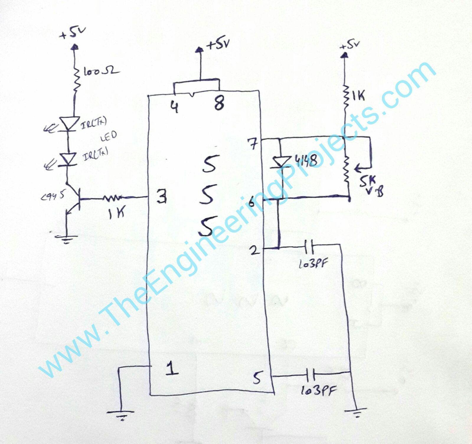 Circuit Diagram Of Ir Sensor Using 555 Timer