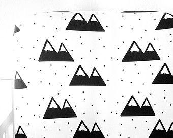 Little Woolf Ed Crib Sheet In Black Mountain And White Nursery Modern Bedding