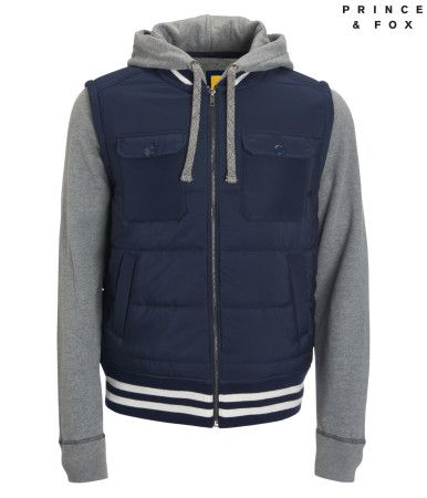 """Stay warm in the stands with this Prince & Fox Layered Varsity Jacket. Its smooth, quilted body features multiple pockets and sporty stripes at the neck, cuffs and hem; the hood and sleeves are crafted of sueded fleece for the softest feel.<br><br>Authentic fit. Drawstring. Approx. length (M): 27.5""""<br>Style: 8432. Imported.<br><br>Body/Fill: 100% polyester.<br>Hood/Sleeves/Lining: 60% cotton, 40% polyester.<br>Machine wash/dry."""