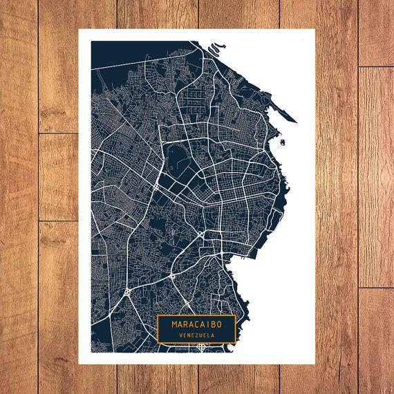 MARACAIBO Venezuela CANVAS Large Art City Map by JackTravelMap