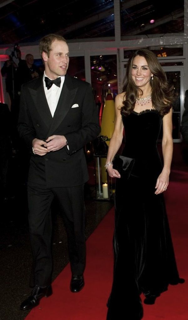 Catherine Duchess of Cambridge Kate Middleton in Alexander McQueen velvet gown