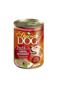 SPECIAL DOG PATE' WITH BEEF TRIPE - Paté premium in alutrays with beef tripe. For all breeds adult dogs.