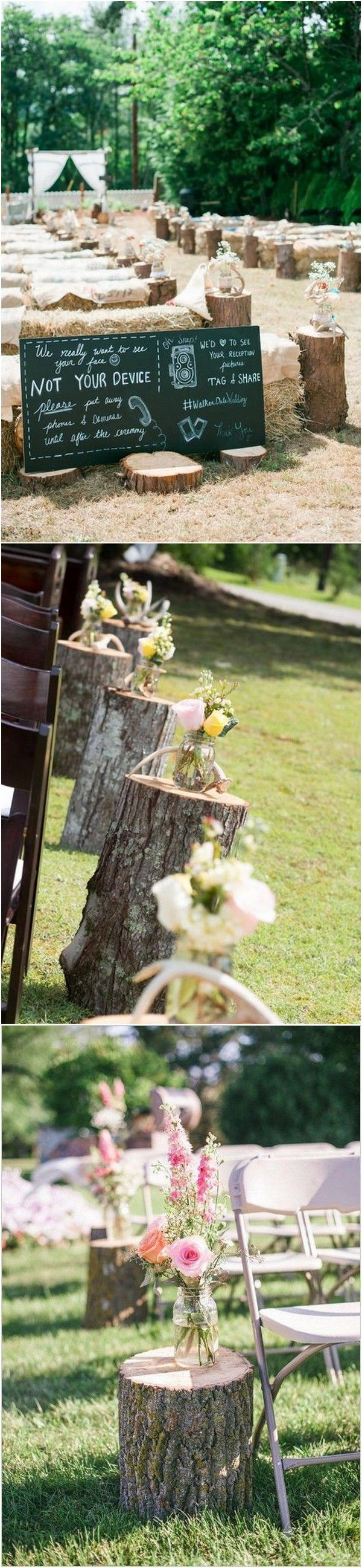 Wedding aisle decor ideas diy   Country Rustic Wedding Decoration Ideas with Tree Stumps