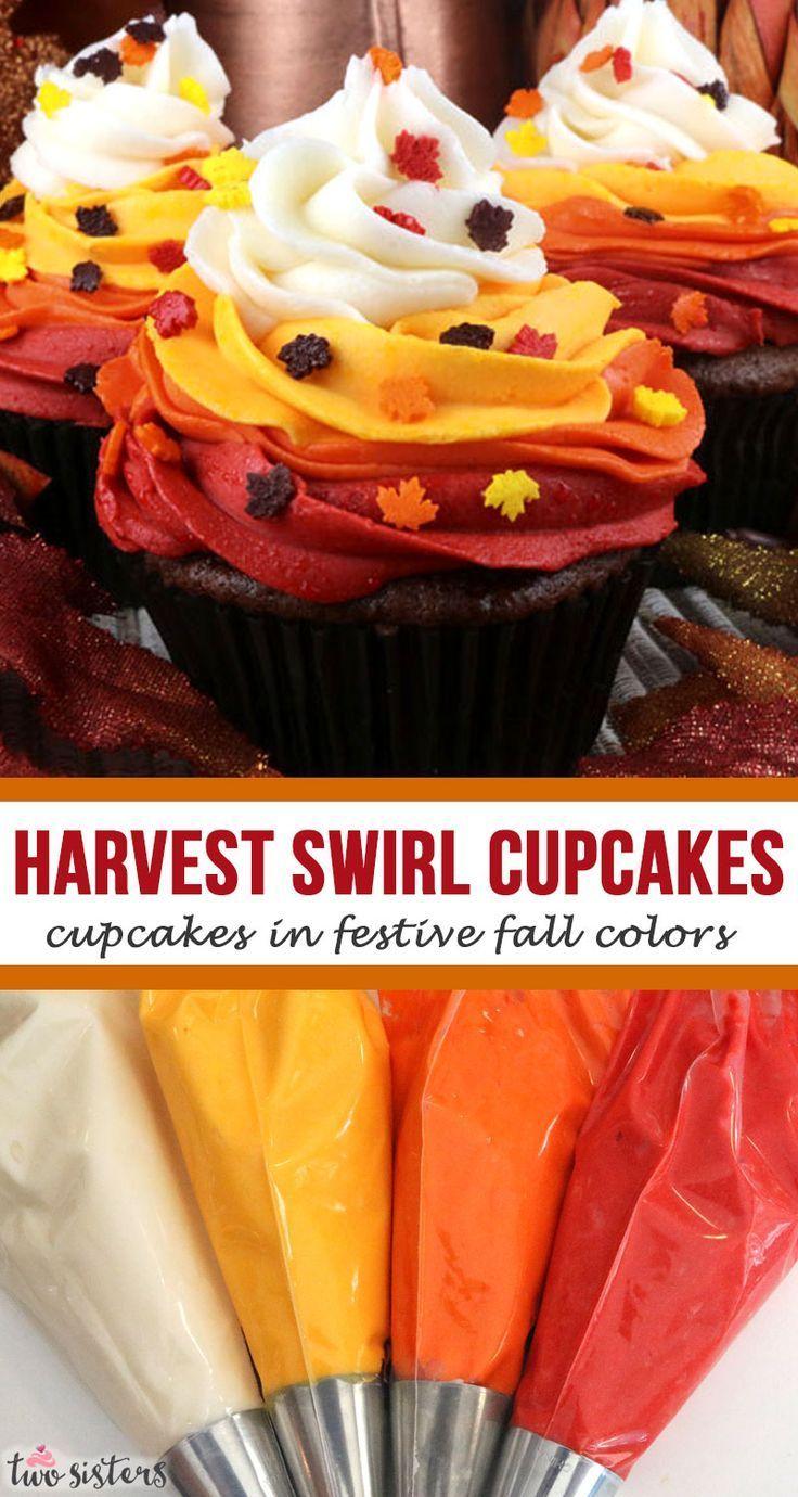 Harvest Swirl Cupcakes #falldesserts