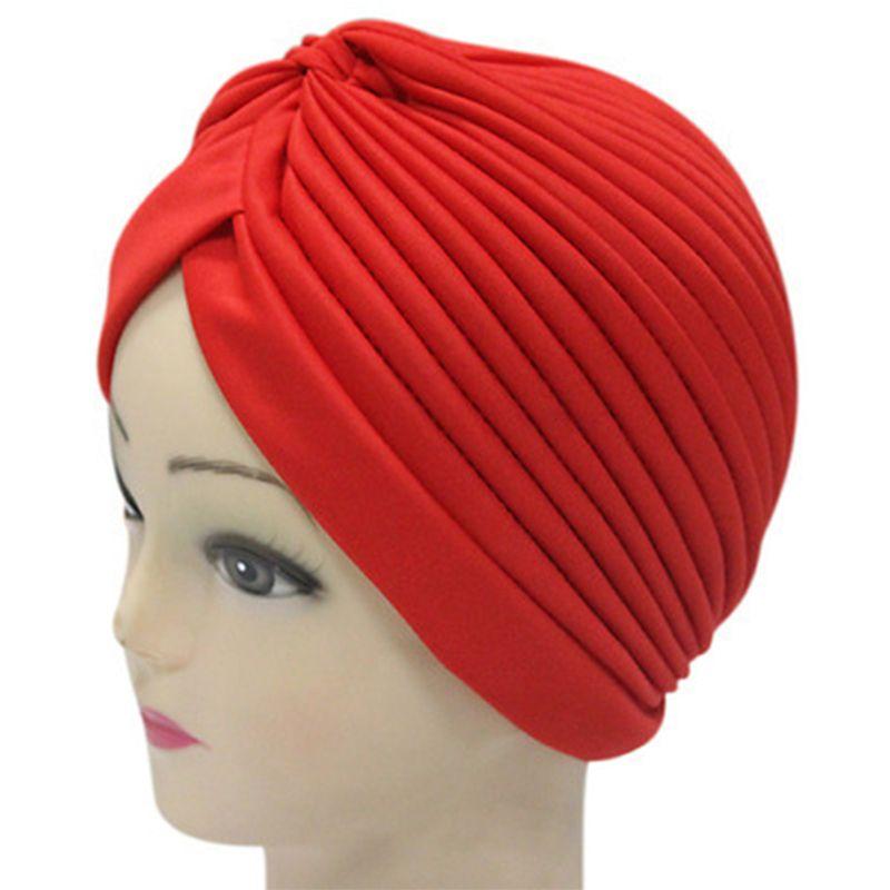 97a4c6ecff9 Women India Caps Retro Headband Hijab Muslim Turban All-match Solid Pleated  Headwear Vintage Beanies Hat 2017 New Cheap Hot