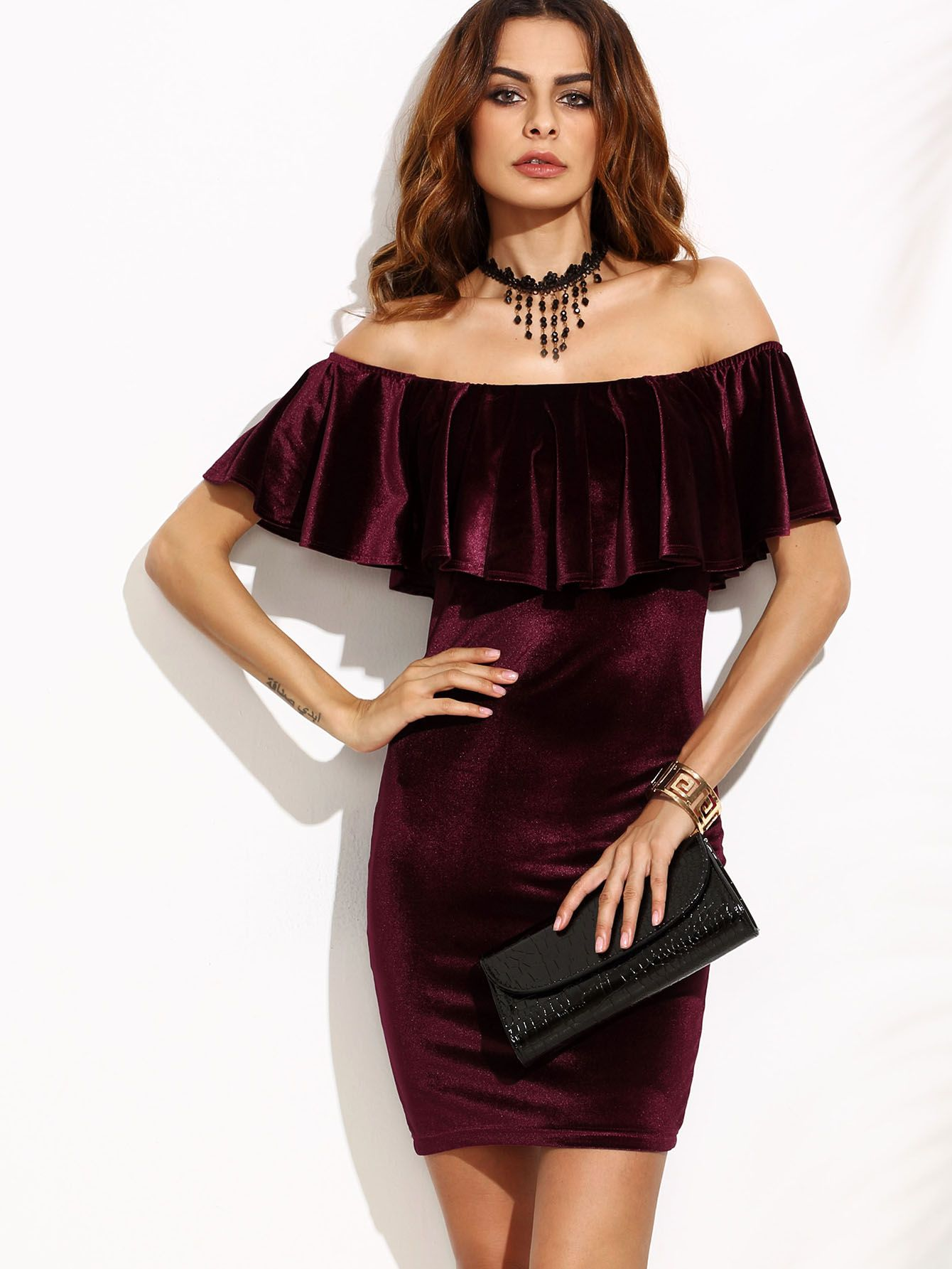 Shop Burgundy Ruffle Off The Shoulder Velvet Bodycon Dress online. SheIn  offers Burgundy Ruffle Off The Shoulder Velvet Bodycon Dress   more to fit  your ... e3f99a0b5