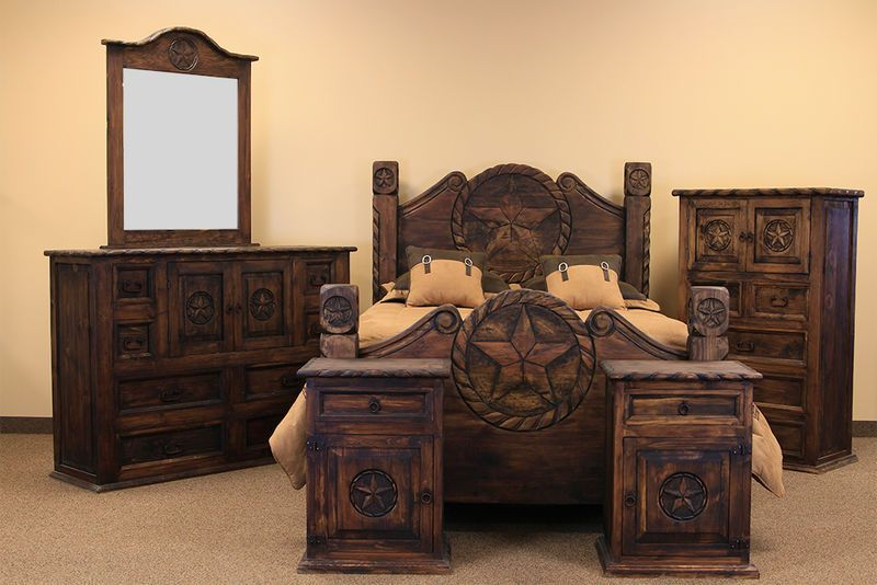 Country Rope And Star Rustic Bedroom Set With Medio Finish Rustic Bedroom Furniture Sets Rustic Bedroom Rustic Bedroom Sets