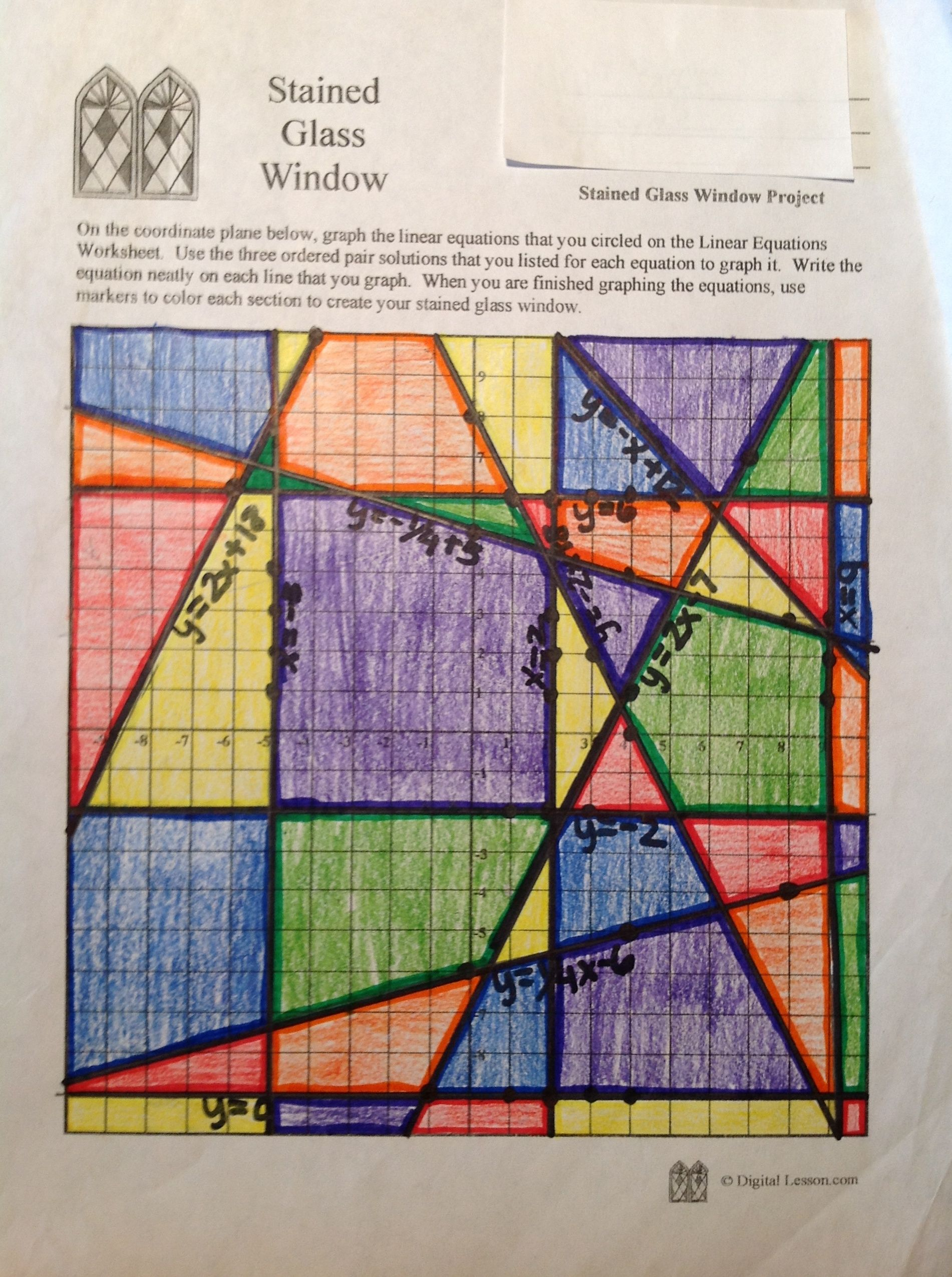 Stainedglasswindow4 areaperimeter love that it isnt all this stained glass math activity requires students to graph linear equations in order to create a colorful display window buycottarizona Gallery
