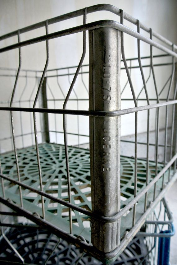 Vintage Green Metal Milk Crate - Large Size - Rustic Home ...